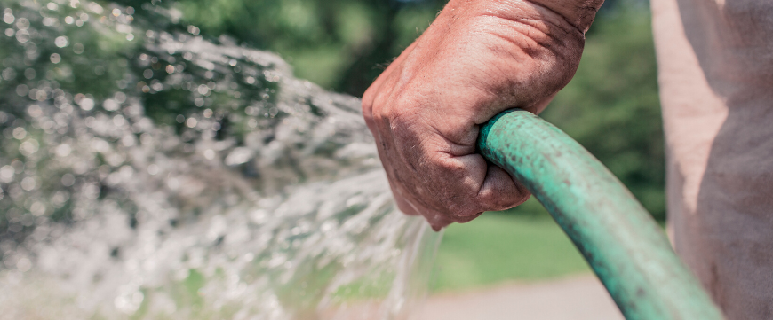 Person holding green water hose