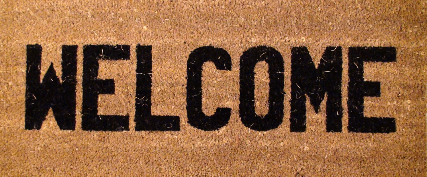 Door mat with the word