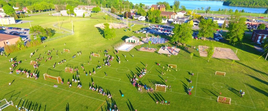 Soccer fields drone photo